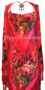 Dress Gown Red Silk Burnout Velvet Beaded Victorian Roses Maya Matazaro M
