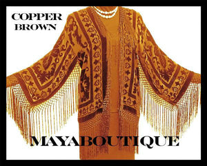 Copper Burnout Velvet Silk Fringe Jacket Short Kimono Maya matazaro