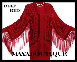 Deep Red Burnout Velvet Silk Fringe Jacket Kimono Maya Matazaro Made in USA