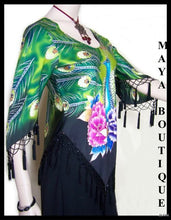 Silk Top Peacock Painted & Beaded Black Multi S Maya Matazaro
