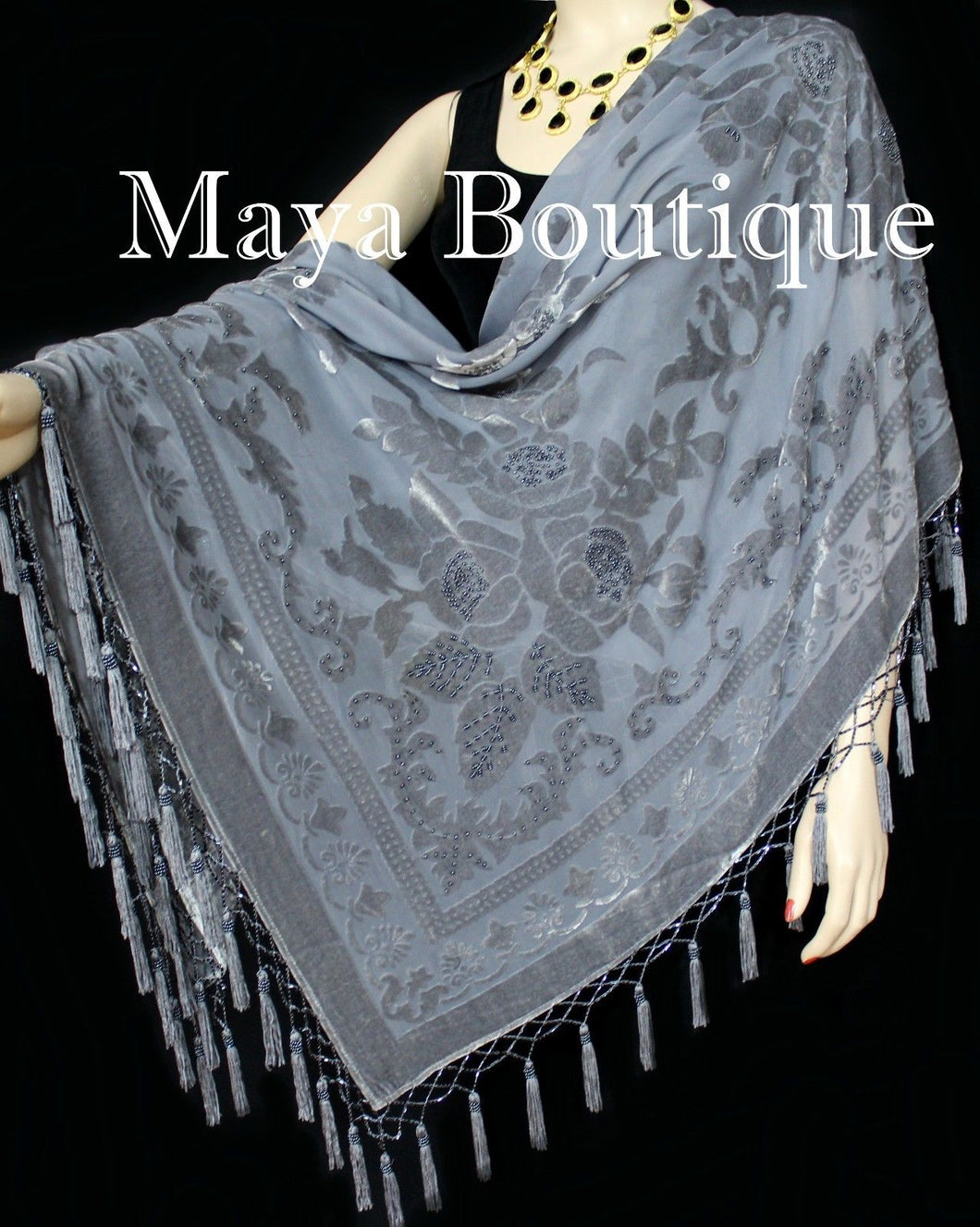 Gray Piano Shawl Scarf Wrap All Beaded Silk Burnout Velvet Maya Matazaro