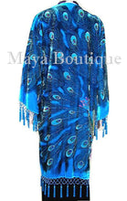 Beaded Peacock Silk Velvet Jacket Duster Kimono Coat Turquoise Maya Matazaro