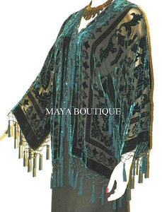 Beaded Silk Kimono Jacket Duster Burnout Velvet Dark Teal On Black Maya Matazaro