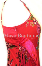Dress Gown Red Silk Burnout Velvet Beaded Victorian Roses Maya Matazaro L