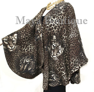Reversible Wool Cashmere Cape Ruana Coat Animal Print  Solid Brown Maya Matazaro