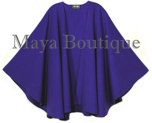 Cashmere Wool Cape Ruana Wrap Coat Blue Iris Maya Matazaro Made in USA