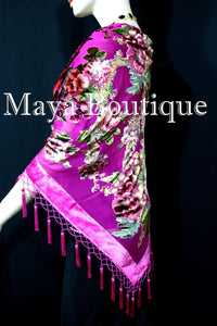 Piano Shawl Scarf Wrap Fuchsia Victorian Rose Silk Burnout Velvet Beaded Fringes