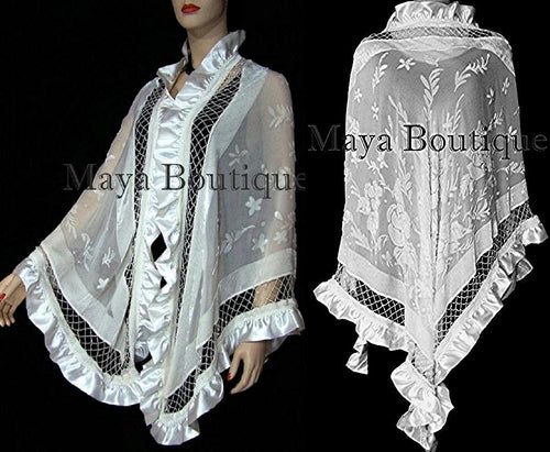 Ivory Shawl Scarf Wrap Silk Beaded Burnout Velvet Triangle Ruffles Maya Matazaro