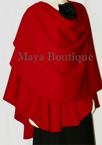 Cashmere Wool Cape Ruana Wrap Coat RED by Maya Matazaro Made in USA New