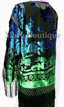 Maya Matazaro Art to Wear Burnout Velvet Kimono Jacket Hand Dyed Green Blue
