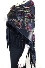 Piano Shawl Scarf Wrap Black Victorian Rose Silk Burnout Velvet Beaded Fringes