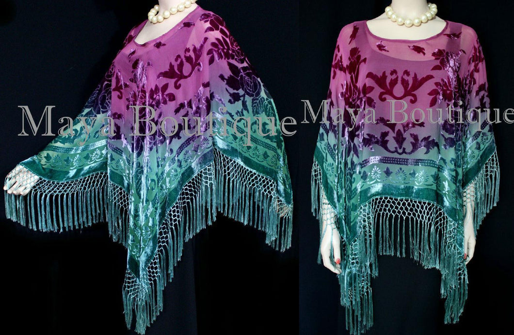 Hand Dyed Silk Burnout Velvet Poncho Shawl Top Teal & Purple Maya Matazaro