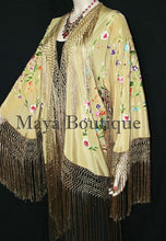Gold Beige Silk Embroidered Fringe Jacket Flamenco Kimono Multi Maya Matazaro