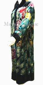 Opera Coat Duster Silk Velvet Black Multi Long L - XL Wearable Art Maya Matazaro