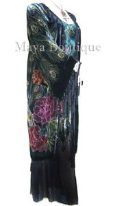 Black Dress Gown Silk Burnout Velvet Beaded Peacock Maya Matazaro S/M