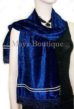 Crushed Velvet Scarf Wrap Maya Matazaro Navy Blue Made In Usa