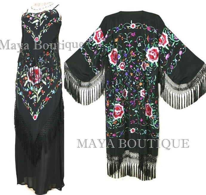 Dress Gown Silk Embroidered Flapper Style Black Multi Maya Matazaro M