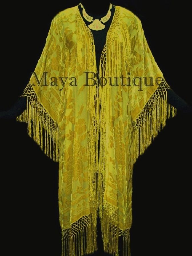 Buttercup Yellow Jacket Kimono Duster Silk Burnout Velvet Maya Matazaro Plus