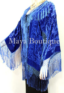 Maya Clothing Royal Blue Fringe Jacket Kimono Short Silk Burnout Velvet Hand Dye