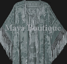 Sage Green Kimono Duster Fringe Jacket Silk Burnout Velvet Maya Matazaro Plus