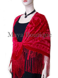 Scarlet Red Silk Burnout Velvet Piano Shawl Wrap Fringed Scarf Maya Matazaro