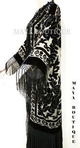 Maya Matazaro Beige & Black Silk Burnout Velvet Fringes Jacket Kimono Long Coat