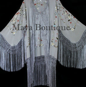Maya Matazaro Embroidered Silk Fringe Jacket Kimono Silver Gray Birds & Flower