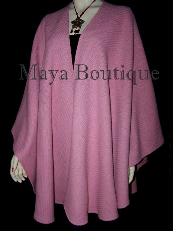 Ruana Cape Coat Wrap Cashmere Wool Blend Coral Blush Maya Matazaro