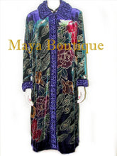 Opera Coat Duster Silk Velvet Purple Peacock Long Lined 1X-2X Maya Matazaro