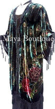 Silk Velvet KIMONO Opera Coat Duster Beaded Black Multi Peacock Maya Boutique