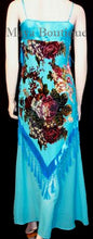 Dress Gown Turquoise Silk Burnout Velvet Beaded Victorian Roses Maya Matazaro L