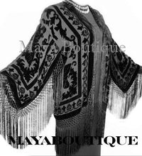 Black Kimono Silk Burnout Velvet Fringe Jacket Short Maya Matazaro Made in USA