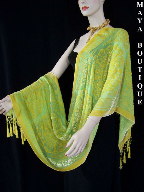 Silk Shawl Wrap Scarf Burnout Velvet Beaded Oblong Gold Green Maya Matazaro