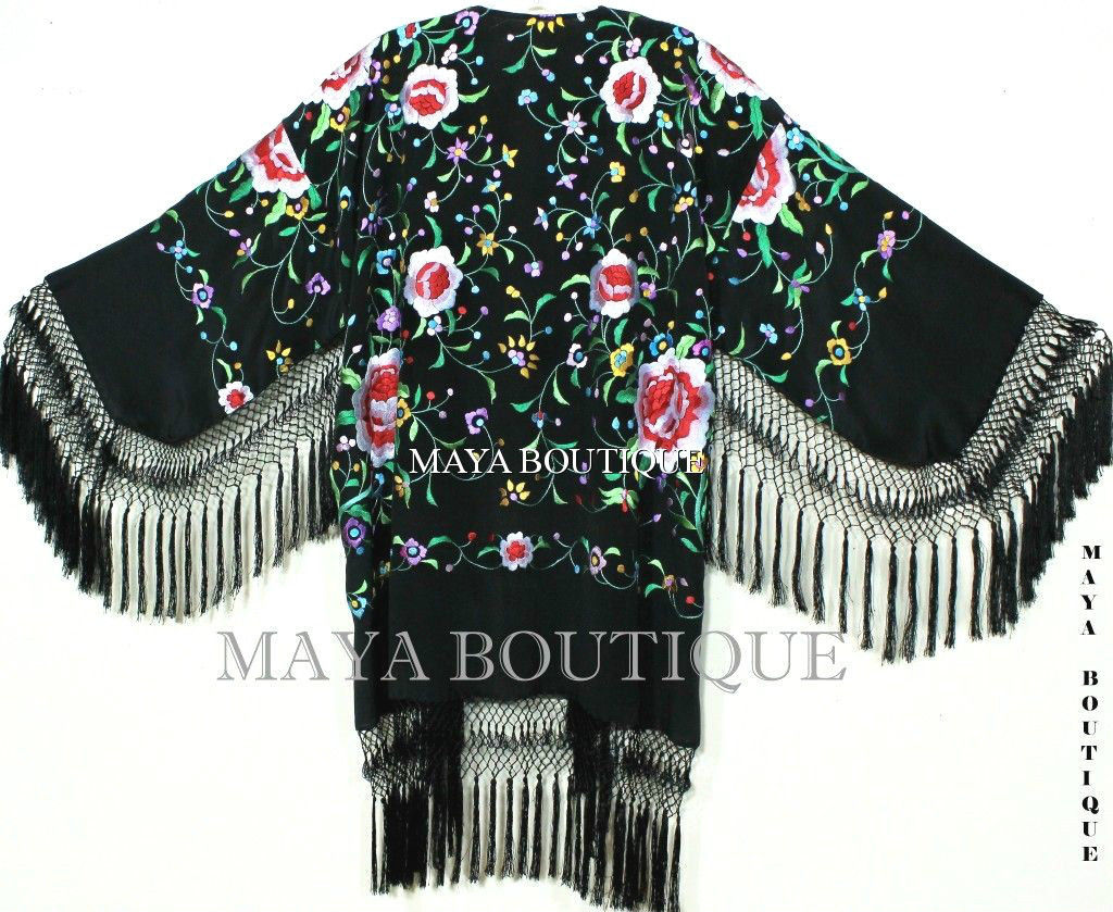 Embroidered Silk Fringe Jacket Flamenco Kimono BLACK MULTI Short Maya Boutique