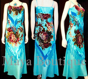 Dress Gown Turquoise Silk Burnout Velvet Beaded Victorian Roses Maya Boutique S