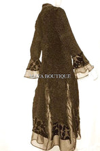 Dress Coat Crinkle Silk Velvet Organza Ruffle Chocolate Medium Maya Matazaro