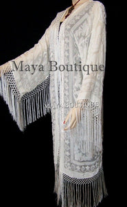 Ivory Maya Matazaro Fringes Jacket Kimono Long Fringe Coat Silk Burnout Velvet