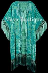 Maya Matazaro Tiffany Mint Fringe Jacket Kimono Duster Silk Burnout Velvet Plus