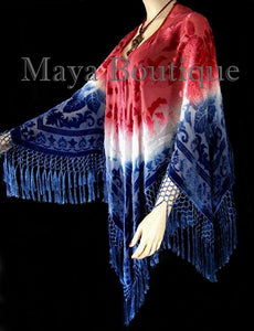 Maya Boutique Hand Dye Poncho Shawl Top Silk Burnout Velvet USA Flag Colors Made In USA