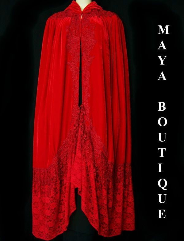 Red Opera Cape Cloak Coat Victorian Reproduction Long Velvet And Lace Lined