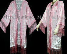 Baby Pink Fringes Jacket Kimono Long Coat Silk Burnout Velvet Maya Matazaro