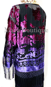 Art to Wear Burnout Velvet Kimono Jacket Hand Dyed Violet Magenta Maya Matazaro