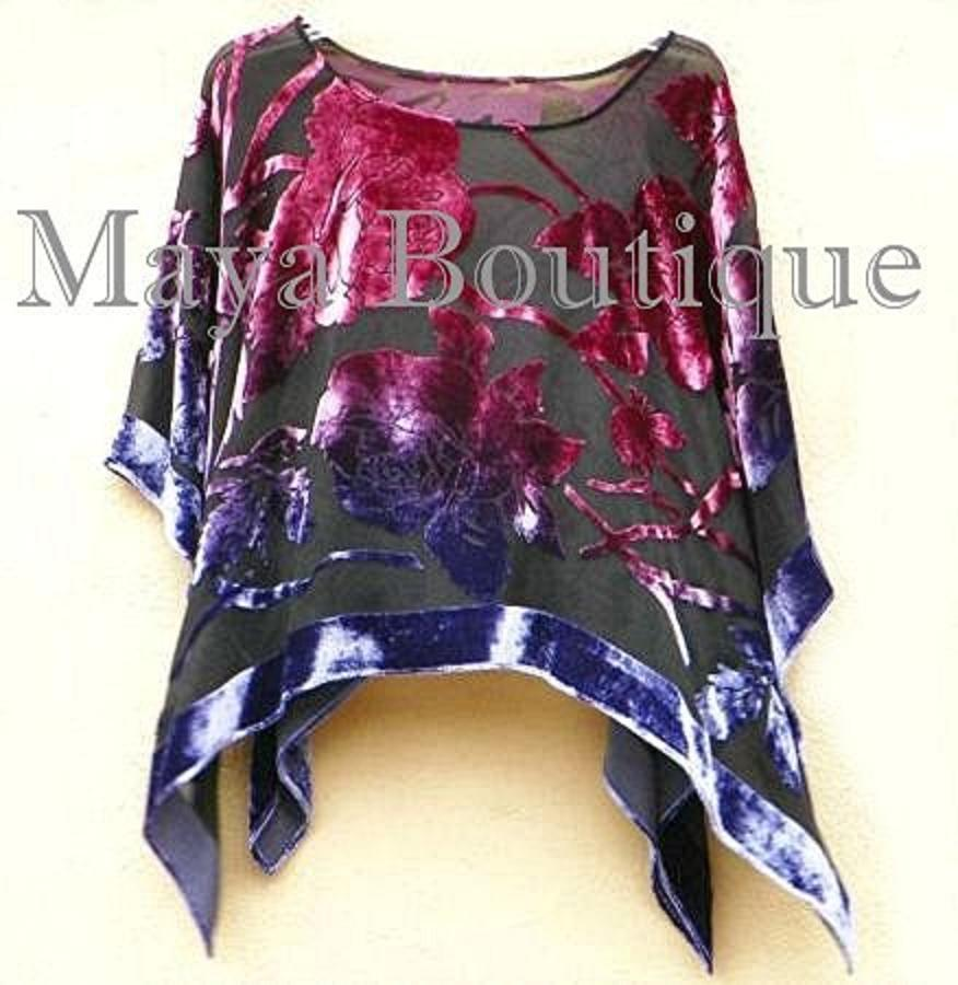 Maya Matazaro Poncho Shawl Top Silk Burnout Velvet Dyed Orchid Purple USA Made