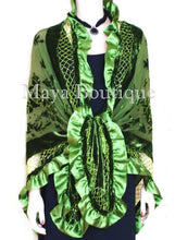 Silk Shawl Wrap Beaded Burnout Velvet Green Triangle Satin Ruffles Maya Matazaro