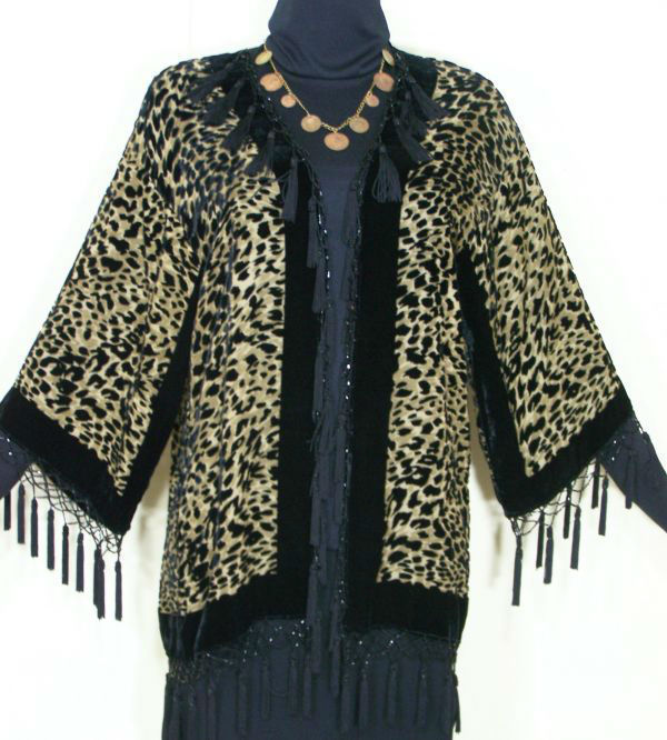 LEOPARD SILK JACKET KIMONO DUSTER BEADED SHORT NEW MAYA MATAZARO