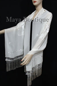 Ivory Embroidered Silk Wrap Shawl Scarf Oblong with Fringes Maya Matazaro