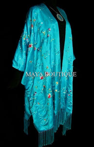 Turquoise Embroidered Silk Kimono Caftan Duster Opera Coat Maya Matazaro Plus