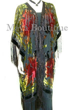 Tye Dyed Kimono Opera Coat Silk Burnout Velvet Chocolate Multi Maya Matazaro