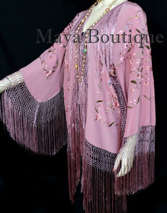 Embroidered Silk Fringe Jacket Kimono Strawberry Ice Multi Birds Flower Maya