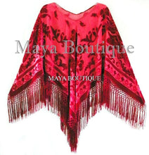 Silk Burnout Velvet Poncho Top Fringe Piano Shawl Wrap True Red Maya Matazaro